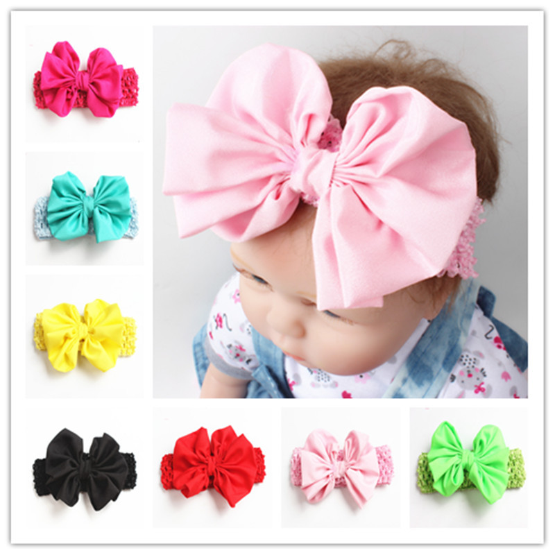 New Fashion 8colors Big bowknot Headband Baby girls Bow hair band children kids dot Cotton Head Wrap Hair Accessories ML-2 купить