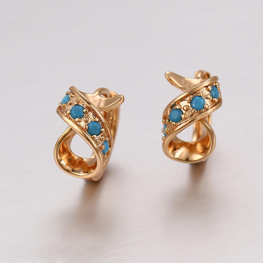 Gold Color Stylish Earrings For Women Fashion Blue Color Bead Hoop Earrings  New Arrival Engagement Party