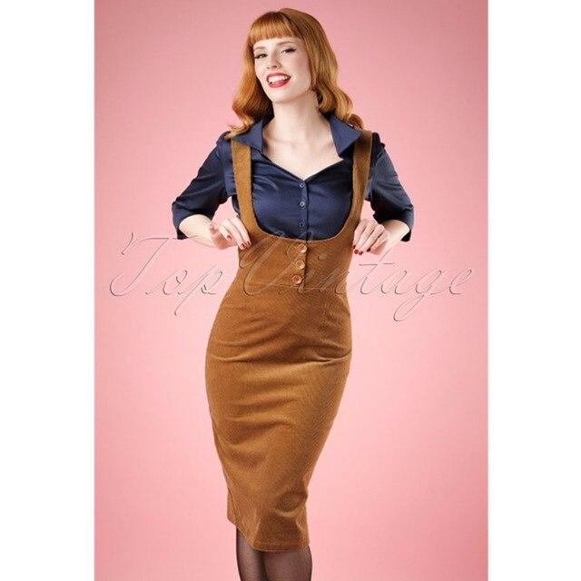10- vintage 70s corduroy button up wiggle pencil suspender skirt in brown  plus size brace pinup falda de pana jumper overalls daa128cd86b6