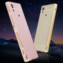 For Sony Xperia XA Case Brushed Back Cover Hard with Plating Metal Frame for F3113