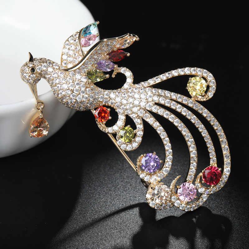 Funmor luxe cuivre broche pleine zircone Phoenix Corsage pour les femmes femme coloré cristal robe manteau revers accessoires cadeaux