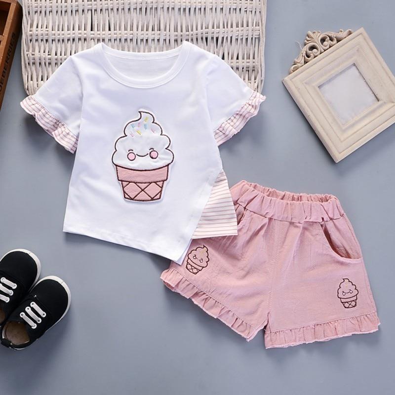 Summer Children Clothing Set Girls Cotton Light Color Ice Cream Short Sleeve Shorts Suit 2Pcs Kids Undershirt Suit