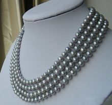 noble women gift Jewelry Silver Clasp 17-18inch Rare real pearl Natural 4rows 7-8 AAA gray pearl necklace