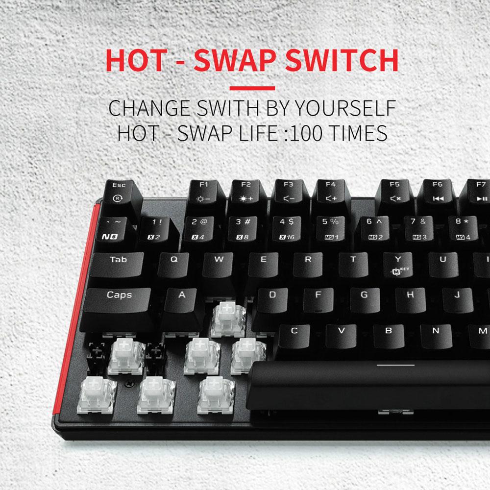HEXGEARS 87 clave intercambiables en caliente Teclado mecánico impermeable Kailh caja de interruptor de Teclado Gamer teclado con iluminación de fondo - 6