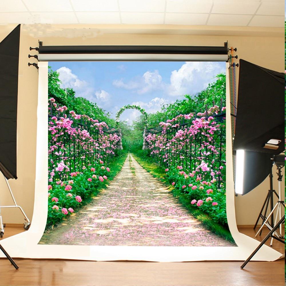 где купить Garden Arch Road Flower  Arch photo backdrop Vinyl cloth High quality Computer printed wedding photo studio background по лучшей цене