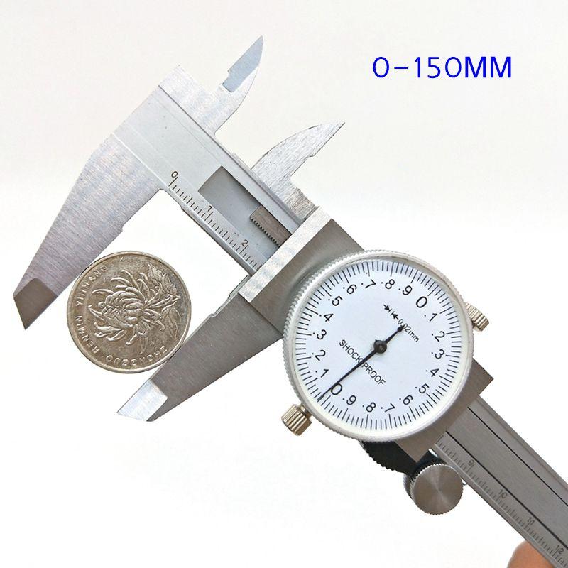 Best 0-150mm/0.02 Dial Caliper Metal Vernier Caliper Micrometer Gauge Measurement & Analysis Instruments Tool vernier caliper 150mm high precision fine analysis wear