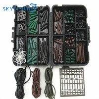 Các loại Cá Chép Cá Phụ Kiện Tackle Hộp cho Tóc Rig Combo box với Hooks, Cao Su Ống, xoay, hạt, tay áo, Stoppers