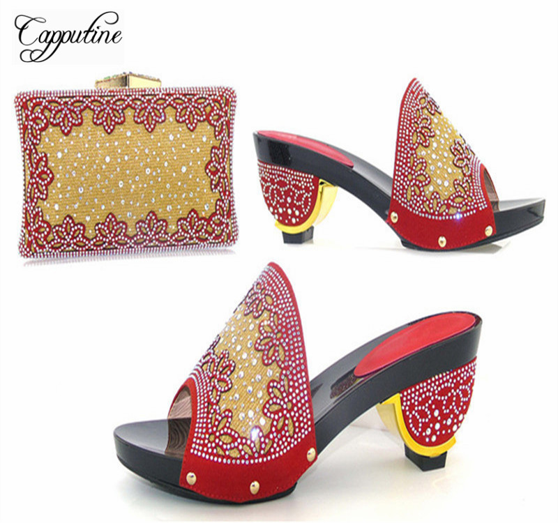 Capputine African Desgin Woman Shoes and Bag Set Summer Style Rhinestone Pumps Shoes And Bags For Wedding Party Free Shipping capputine new arrival fashion shoes and bag set high quality italian style woman high heels shoes and bags set for wedding party