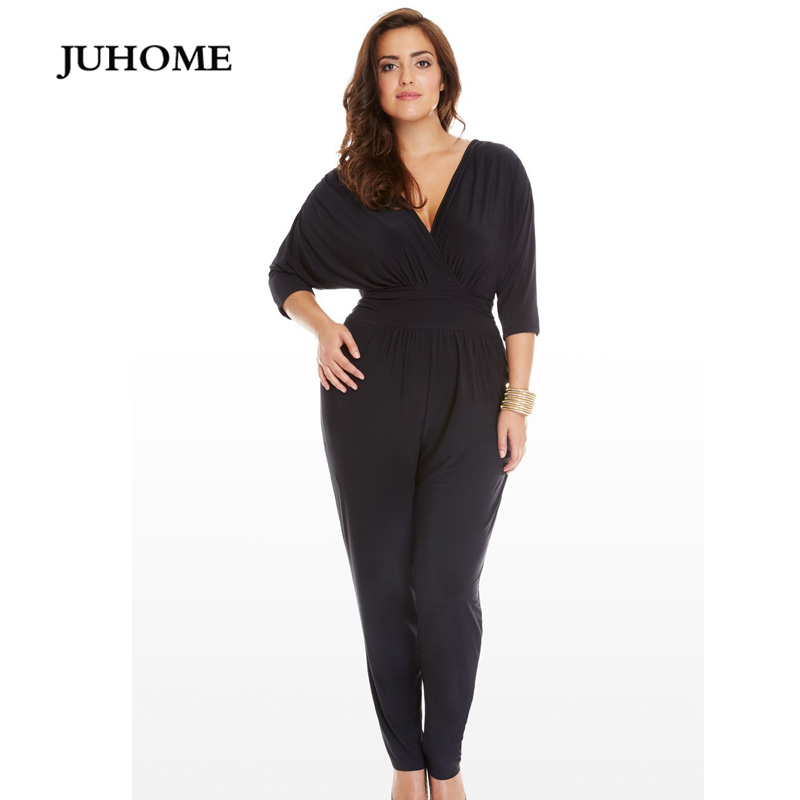 9ab7248f61a Detail Feedback Questions about 2018 winter autumn Long Pants sexy black rompers  V Neck Elegant slim Casual party Jumpsuit large sizes playsuits women ...