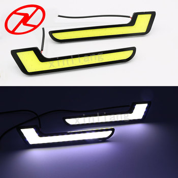 2pcs Universal COB LED Daytime Running Lights automobiles L - Shape DRL Lighting
