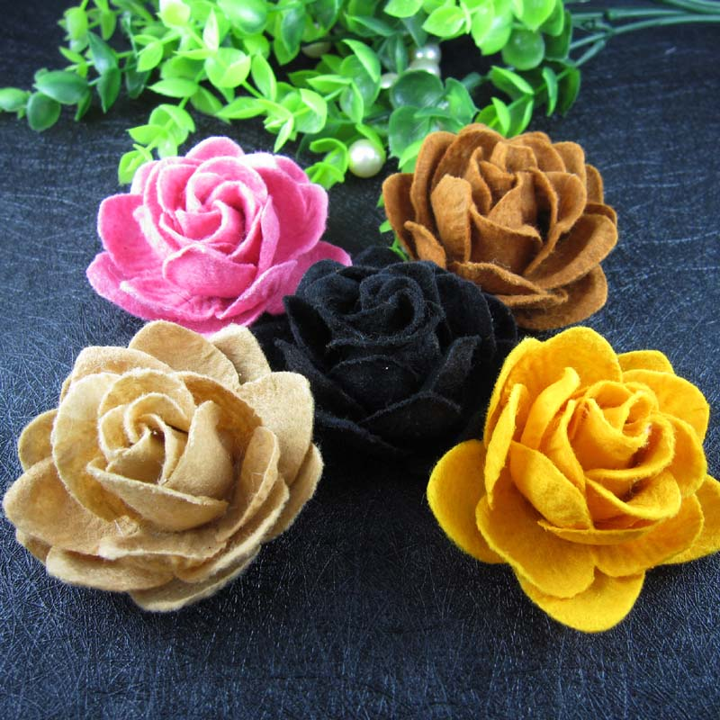 Free Shipping 24pcs Lot 25 Non Woven Flower Felt Lotus Flowers