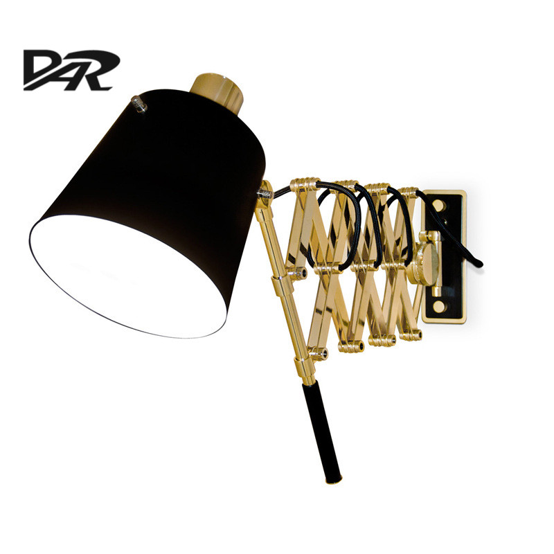 DAR Wall Lamps Italy Pastorius Black Wall Lamp Extensible Stretch Adjustable Long Arm Bedroom Light Led Wall Lamp E27 European