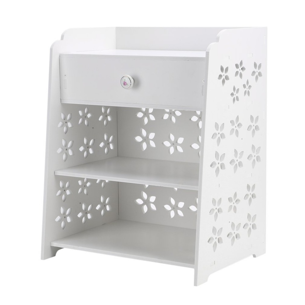 Newest Modern Storage Rack Wood Cabinet Bedroom Flower Bedside Table Universal Home Nightstand Elegant Bedroom Furniture