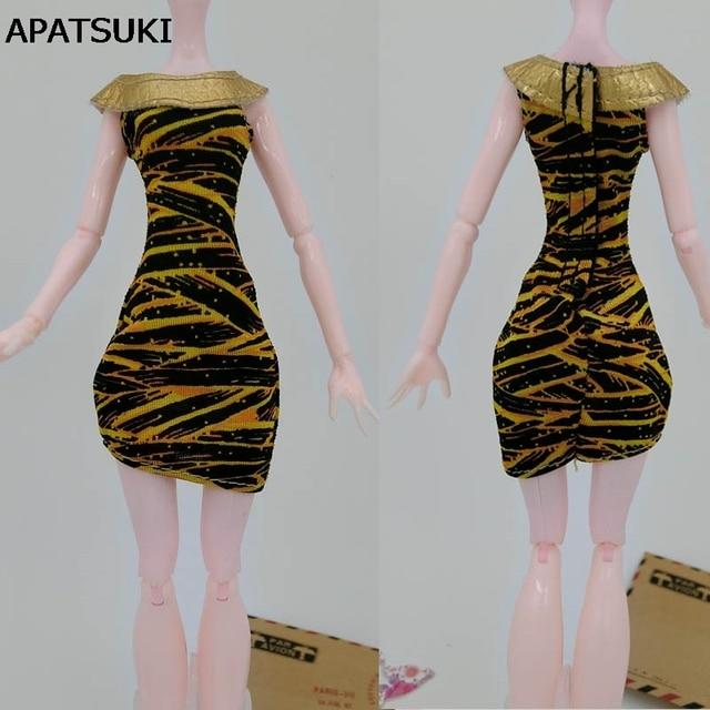 c6d55bf20 Moda Amarelo Zebra Roupas Para Bonecas Monster High Vestidos Curtos de  Festa Vestido de Verão Vestidos