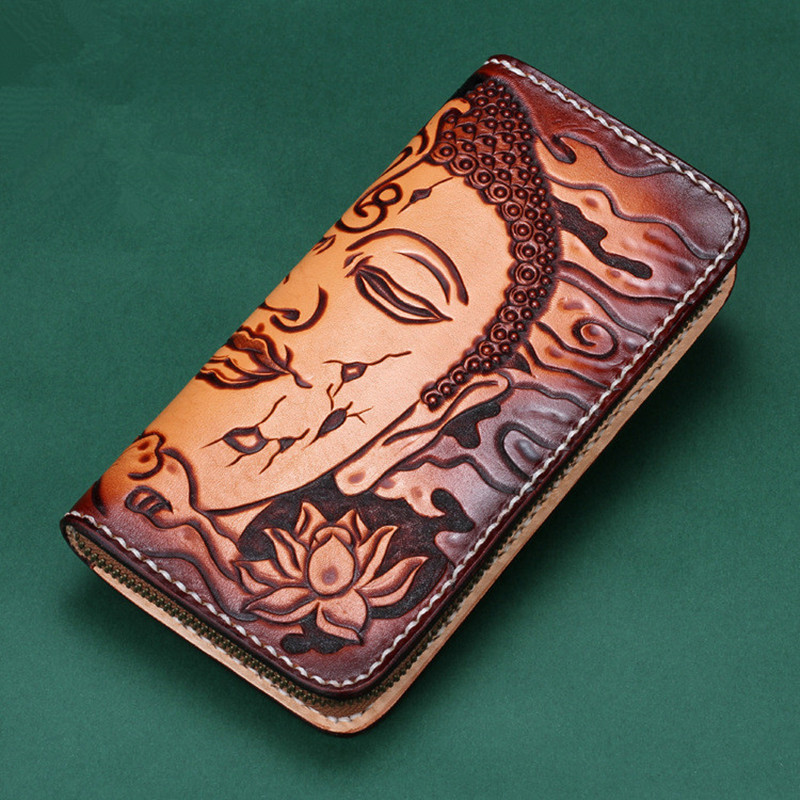 Women Genuine Leather Card Holder Wallets Sakyamuni Devil Bag Purses Men Clutch Vegetable Tanned Leather Long Wallet Gift yuanyu 2018 new hot free shipping real python leather women clutch women hand caught bag women bag long snake women day clutches