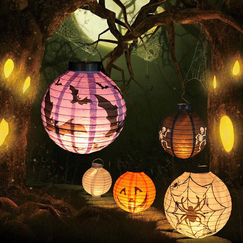 wholesale price led paper lantern pumpkin spider bat hanging light lamp halloween party decor 2017 28off