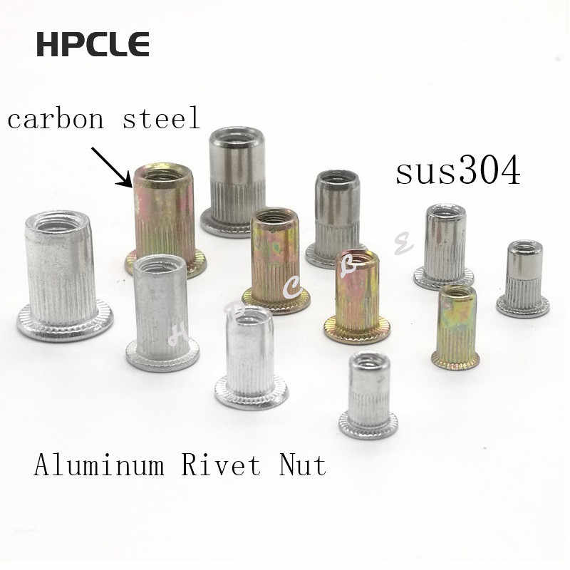 10-20pcs M3 M4 M5 M6 M8 304 Stainless Steel or Carbon Steel or Aluminum Flat Head Knurled Rivet Nut Rivnut Inserts Nut