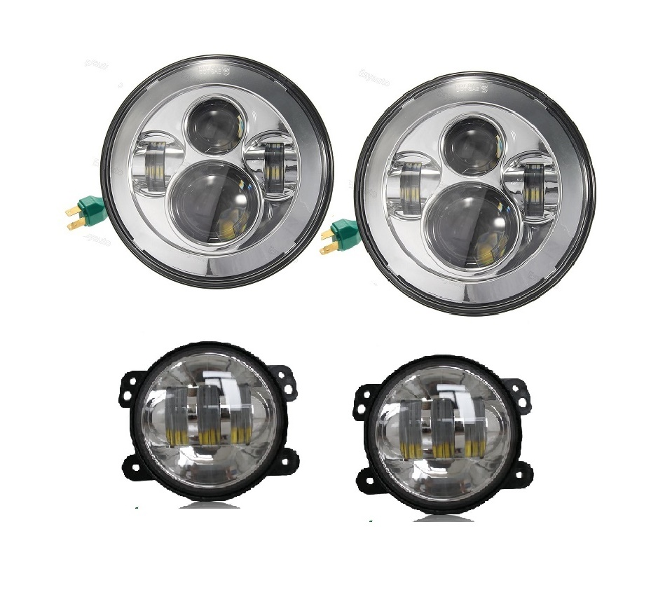 LED 7inch Headlights 40W 4''inch 30W Off Road LED Fog Lamps for Jeep Wrangler JK TJ LJ car accessories