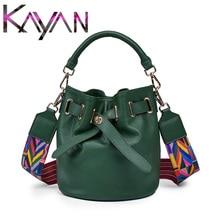 Casual Genuine Leather Women Bucket Bag Fashion Real Leather Female Shoulder Bag High Quality Wide Shoulder Strap Lady Bag