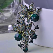 Turco Broche de Joyería de Plata Antiguo Plateado Azul Verde Doble Bufanda Pins Broches de La Flor para Las Mujeres Joyería Declaración