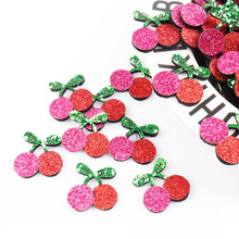 AHB 10Pcs Glitter Fruits Appliques Shiny Cherry Pineapple Patches For DIY Girls Hair Clips Embellishment Accessories