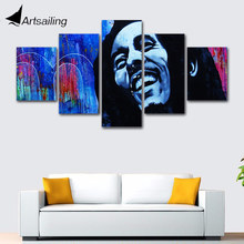 Wall Picture home decor Canvas painting art print 5 panels Bob Marley quote singer canvas Pictures