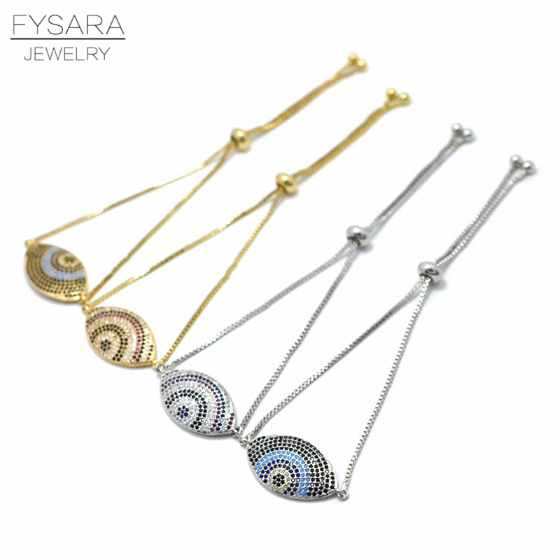 FYSARA Gypsy Turkish Evil Eye Bracelet For Women Jewelry Full Crystal Micro Chains Bracelet Adjustable Size Men Bangles Bridal
