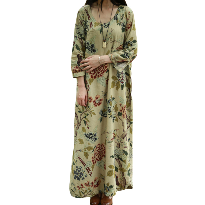 Spring And Autumn Retro Elegant Cotton Linen Print Dress Plus Size Robe Plus Size Robe Gown