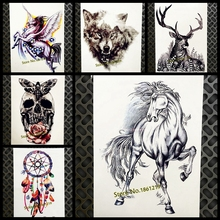 Black Horse Sketch Temporary Tattoo Stickers Women Men Body Art Arm Legs Fake Tatoo 21x15CM Large Transfer Flash Drawing Tattoos