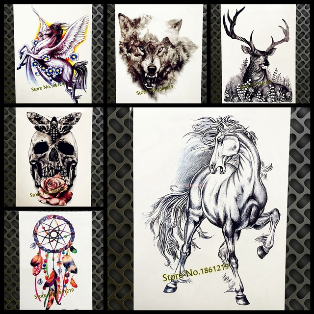 Black Horse Sketch Temporary Tattoo Stickers Women Men Body Art Arm Legs Fake Tatoo 21x15CM Large Transfer Flash Drawing Tattoos