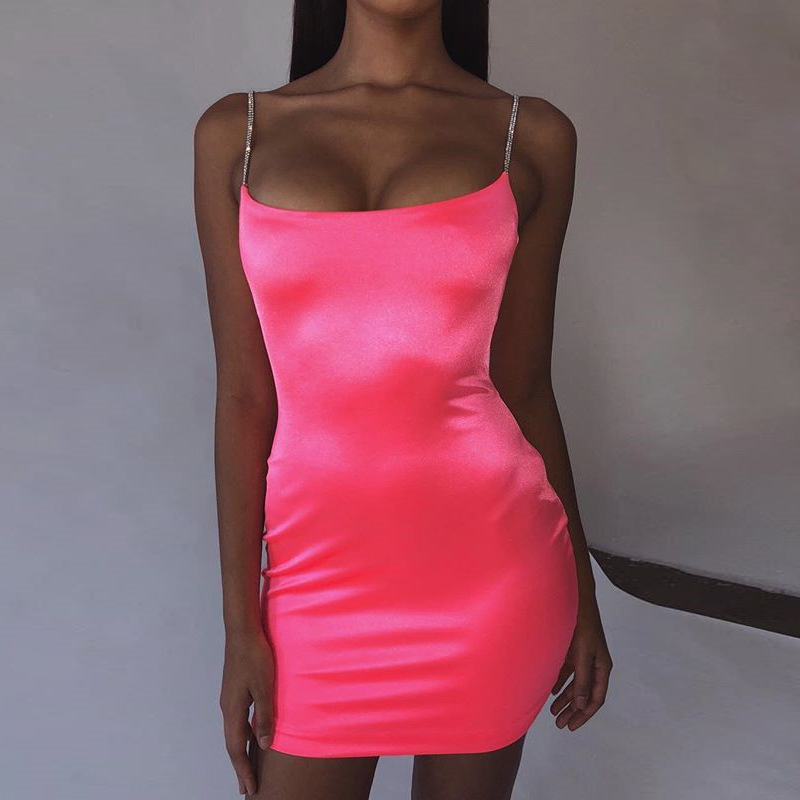 Stretch Satin Mini Dress Women Sexy Straps Slim Fit Bodycon Party Dress Neon Green Pink Dress Dual-layered Robe Femme