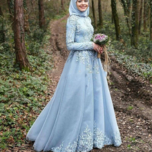 Evening Party 2017 Sky Blue Long Sleeve Muslim Evening Dress robe de soiree courte Hijab Turkish Evening Party Gowns with Lace