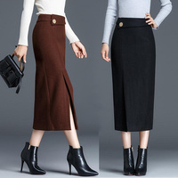 Autumn Winter Woolen Skirt Women Sexy Elegant Warm High Waist Long Skirt A Line Bodycon Casual Plus Size XXXL Skirts Womens Q655