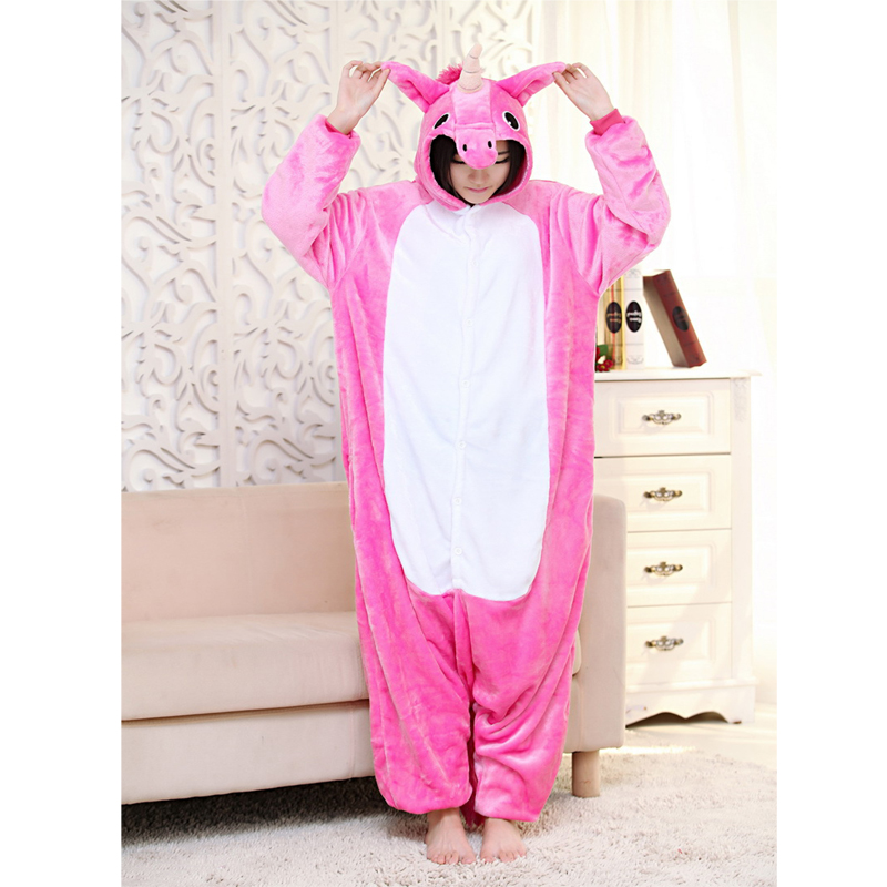 Anime Pajama Sets Unisex Unicorn Pajamas Flannel Hooded Long Sleeve Sleepwear Winter Cute Cartoon Animal Home Clothe NRSY007