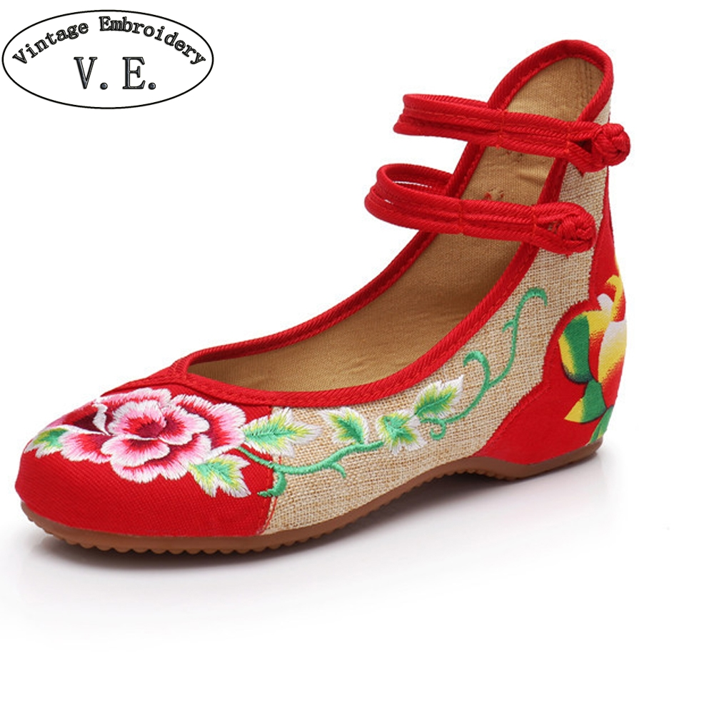 2018 Spring  Women Shoes Old Peking Nation Flats Heel With Embroidery Soft Sole Casual Shoes Dancing Ballet  Shoes sapato femini vintage embroidery women flats chinese floral canvas embroidered shoes national old beijing cloth single dance soft flats