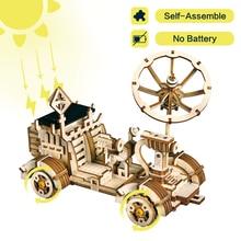 Robotime Moveable Moon Багги солнечной энергии игрушка 3D DIY лазерной резки деревянные модели строительные наборы подарок для детей и взрослых LS401