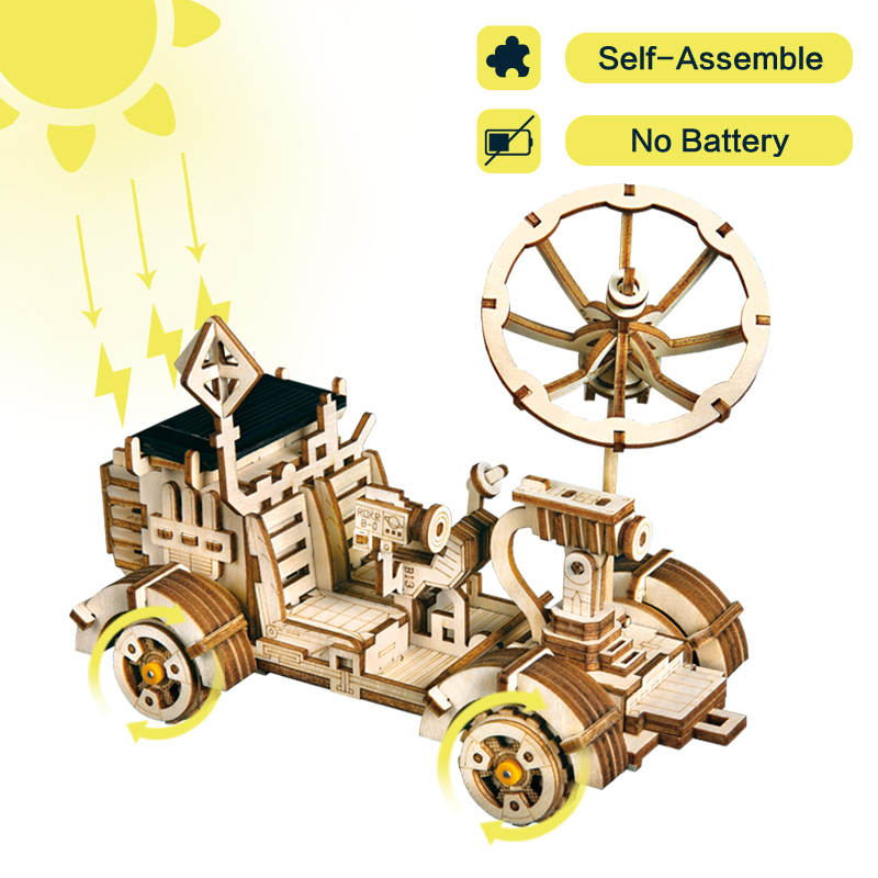 Robotime Moveable Moon Buggy Solar Energy Toy 3D DIY Laser Cutting Wooden Model Building Kits Gift For Children Adult LS401