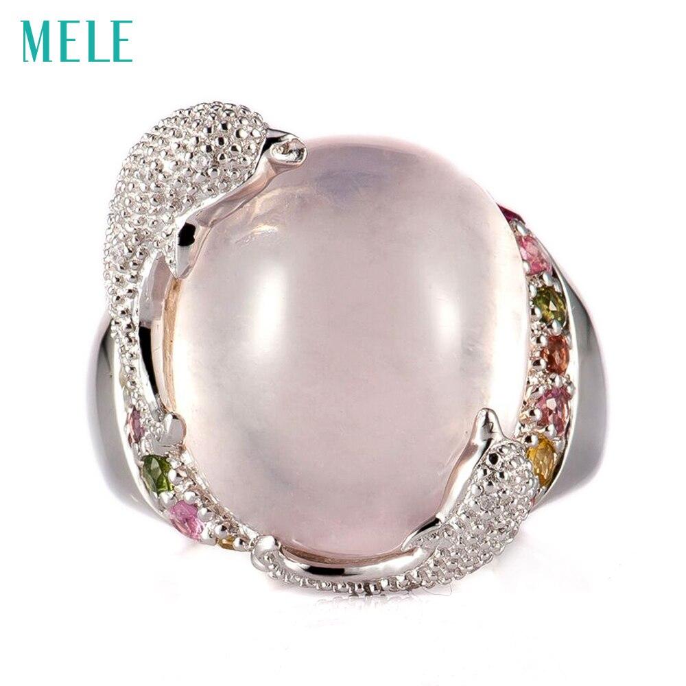 MELE натуральный розовый кварц и лимонный кварц серебряное кольцо, Овальный 14 мм * мм 16 мм, яркие резинки, яркие дельфины, милый прекрасный