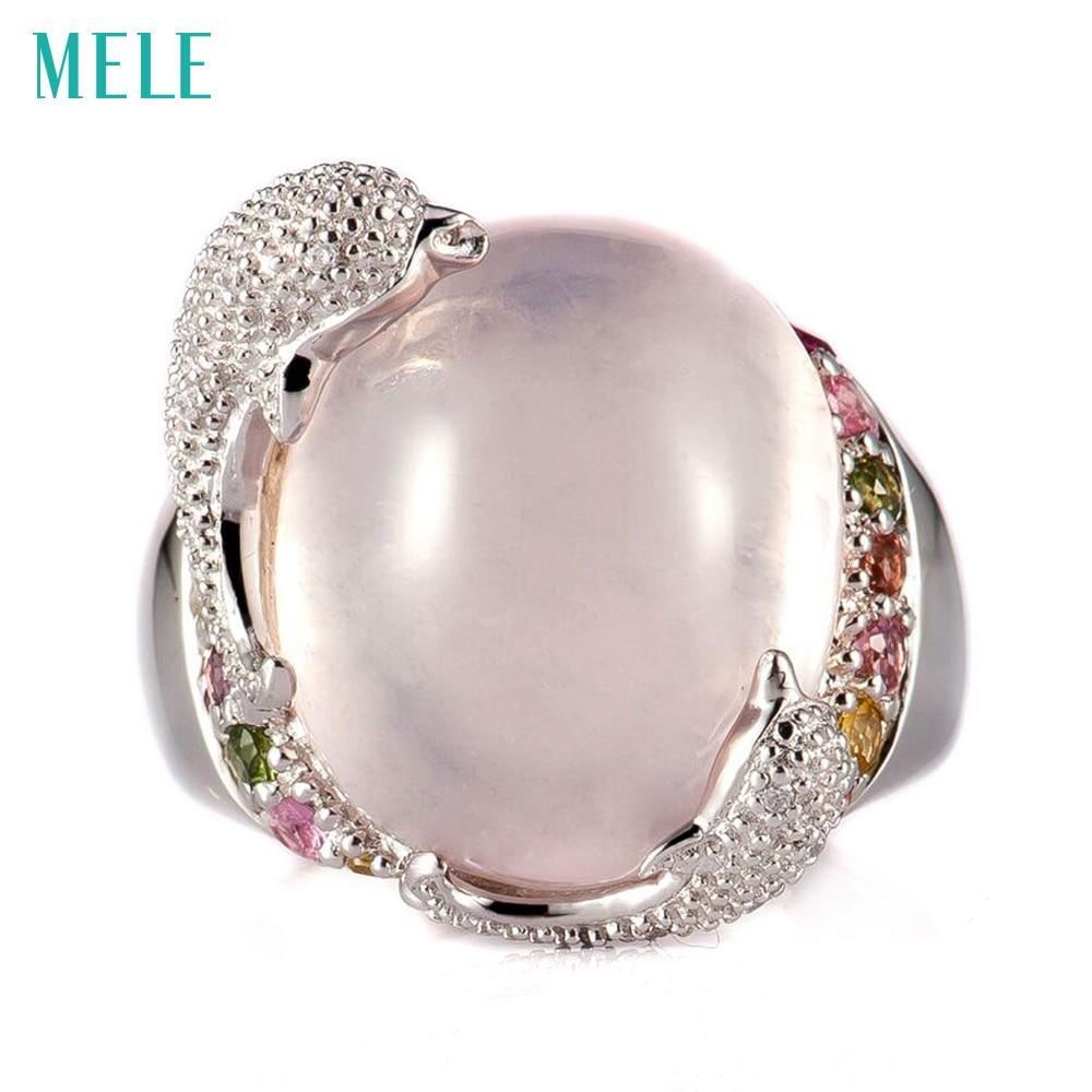 MELE Naturel rose quarts et lemon quarts argent anneau, ovale 14mm * 16mm, lumineux tourmalines, vivid dauphins, mignon et beau