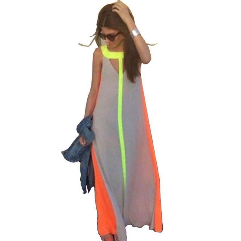 Plus la Taille 4 couleurs Femmes D'été de Boho Maxi Robe Meilleur Beach Party En Mousseline de Soie Robes