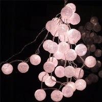White Christmas Lights Fairy Garland String Lights 35 Cotton Balls Led Light Wedding Decoration Guirlande Lumineuse