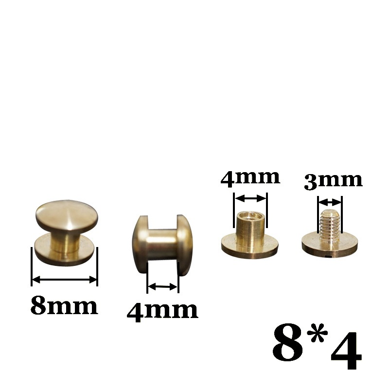 8*4mm rivets  round flat bag  leather PU strap belt copper screw fastner rivet  screws 100pcs/lot free shipping 100pcs lot 6colors 12mm round spikes fashion pop rivets stud hardware w screw for bags shoes wallets belts