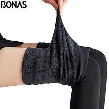 BONAS, 2 шт., супер эластичные бархатные зимние колготки для женщин, Осень-зима, теплые женские колготки размера плюс, бархатные эластичные колготки