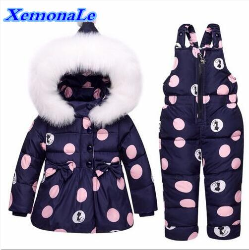 -20--30Degree 2017 Winter Infant Clothes Sets Baby Girls Down Suits Cartoon Thick Coats+Pants Windproof Warm Children Kids Suits baby girls boys winter clothes sets children infant suits kids thick plaid warm coats pants two piece suit children kids suits