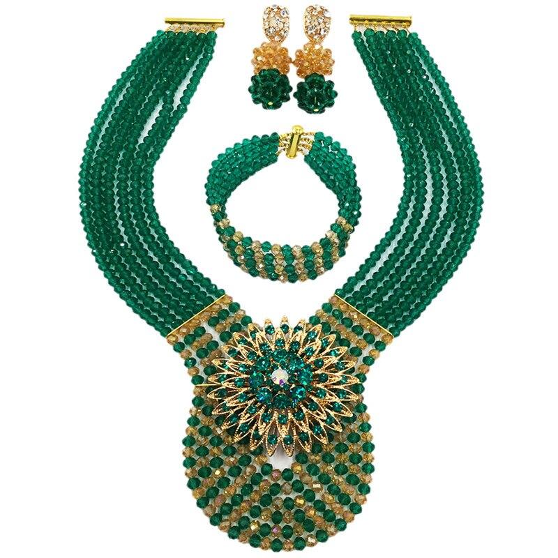 Армейский зеленый и шампанское золото AB нигерийской свадьбы Африканский Бусины комплект ювелирных изделий Ювелирные комплекты с кристаллами