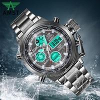 럭셔리 브랜드 amst 남자 손목 시계 남자 디지털 석영 듀얼 디스플레이 스포츠 시계 남자 방수 시계 2019 새로운|수정 시계|   -