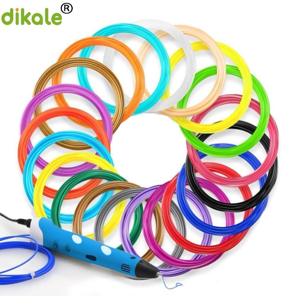 dikale 12 colors/set 3D Printing Pen Filament PLA 1.75mm Plastic Refills For 3D Drawing Printer Pen in Dark Colors 1 75mm pla 3d printer filament printing refills 10m