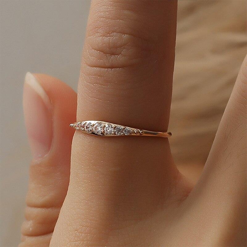 Dropshipping 2019 nova moda quente casal anel feminino única linha broca anel de jóias de ouro para mulheres noivado jóias presentes