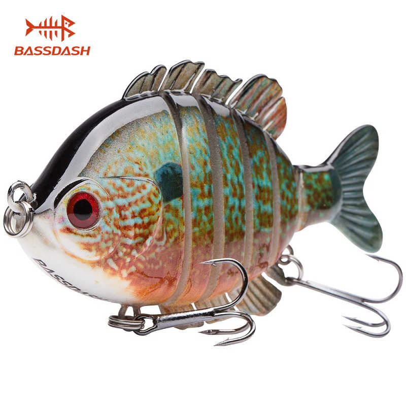 Bassdash nagpanfish Multi Jointed Panfish Bluegill nagbaits Topwater Hard Bass pêche manivelle leurre 24g/8.8 cm, 4 couleurs