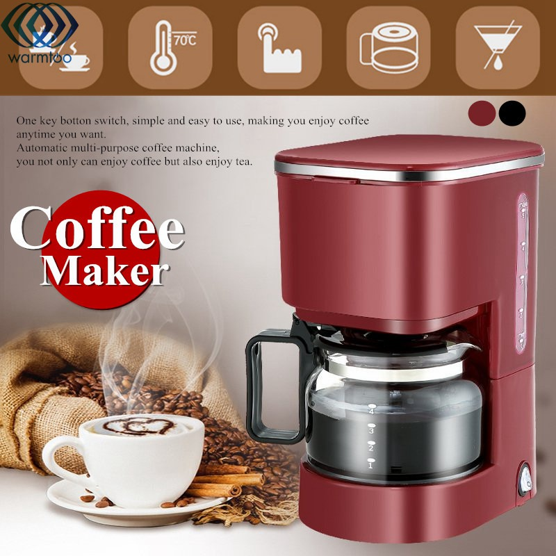 Automatic Drip Coffee Machine 750ML 5 Cups Coffee Maker Tea Pot Espresso Lntelligent Insulation 220V 550W Home Office купить